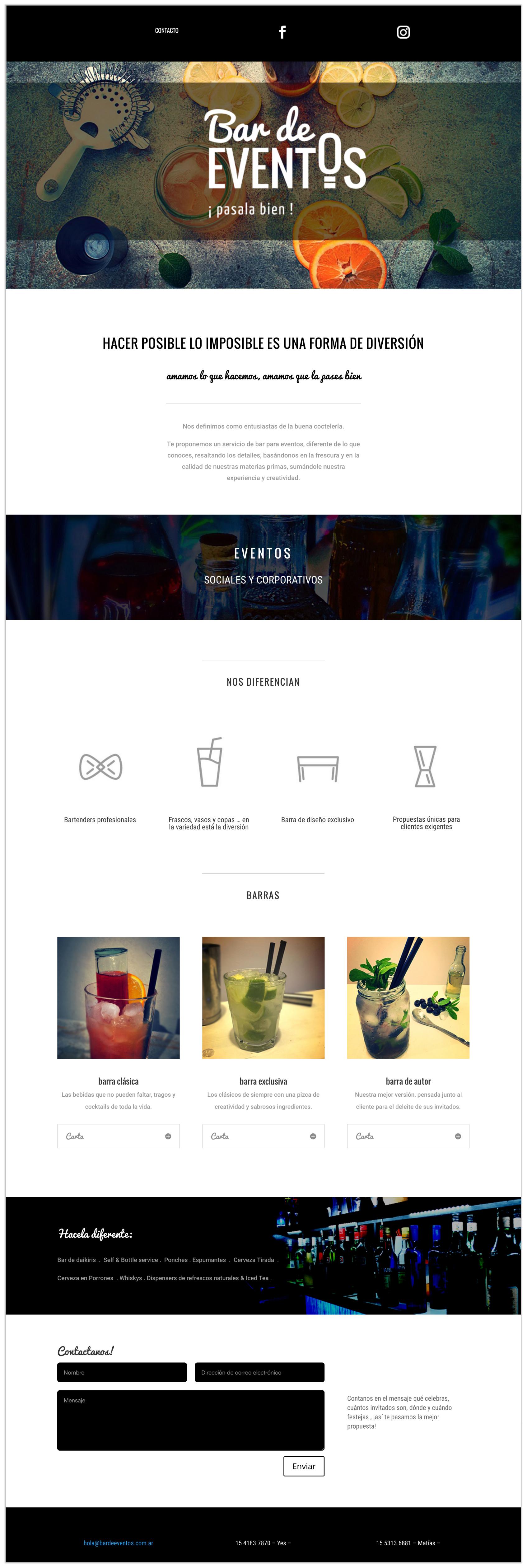 Bar de Eventos Sitio Web